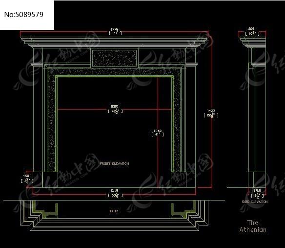 gebilu_高档石材现代风格壁炉设计图纸