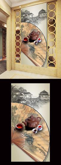 古典中式扇子茶杯喝茶水墨画玄关