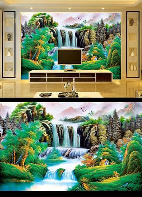 国画风景油画电视背景墙