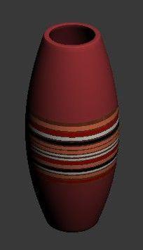 红色装饰陶瓷花瓶3D设计模型素材资料