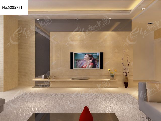 灰镜造型现代风格电视墙3d效果模型图片