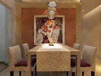 简约欧式餐厅装修3D效果模型