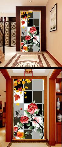 牡丹花红叶树叶黑白方框玄关隔断