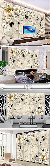 欧式精品花纹客厅大理石电视背景墙画壁纸