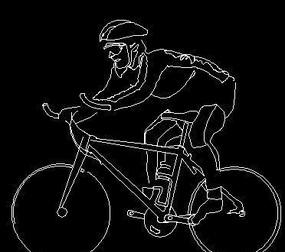 骑山地车的男孩CAD图块