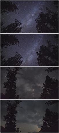 森林夜晚星空延时摄影图片