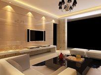 石材电视背景墙造型设计3D模型