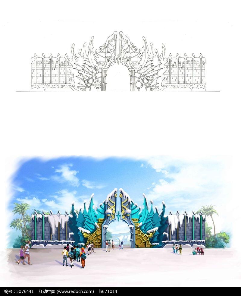 手绘冰雪主题乐园大门图片