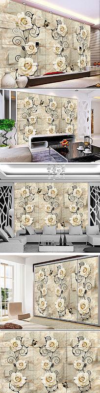 现代风格石材浮雕电视背景墙