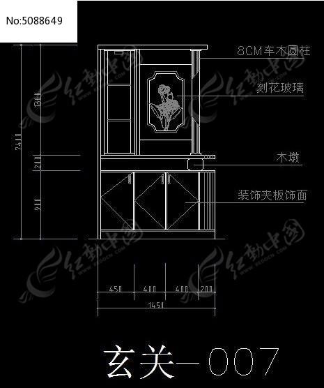 玄关装饰柜立面施工尺寸图纸