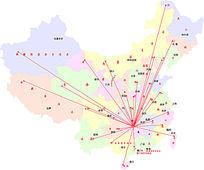中国地图彩色底psd素材