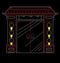 中式四合院大门立面设计图纸
