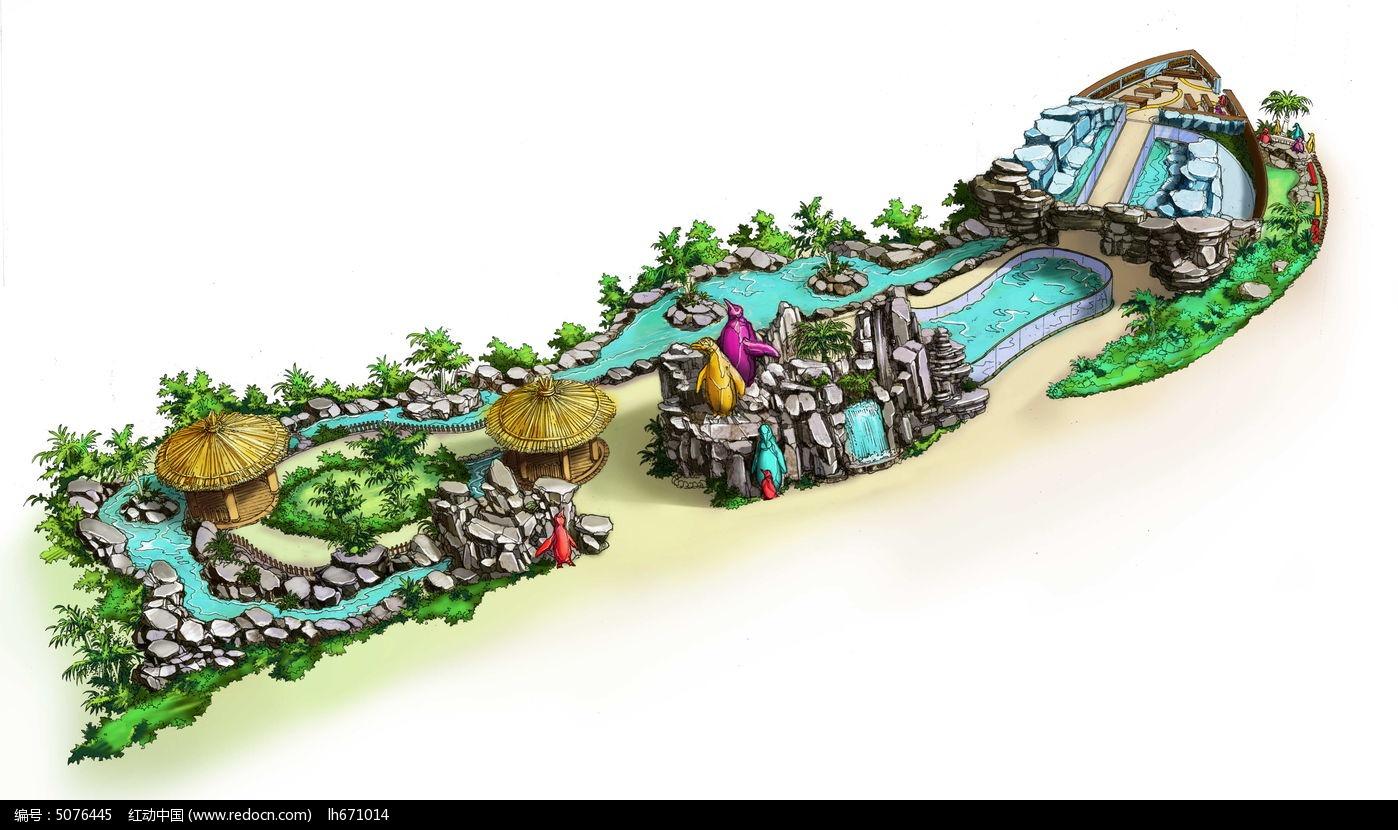 主题动物园原画鸟瞰手绘图片