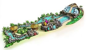 主题动物园原画鸟瞰手绘 PSD
