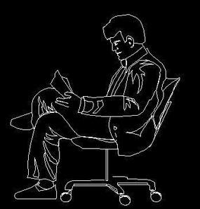 坐椅子的男人CAD设计图块