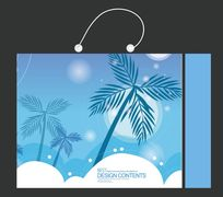 蓝色椰树手提袋