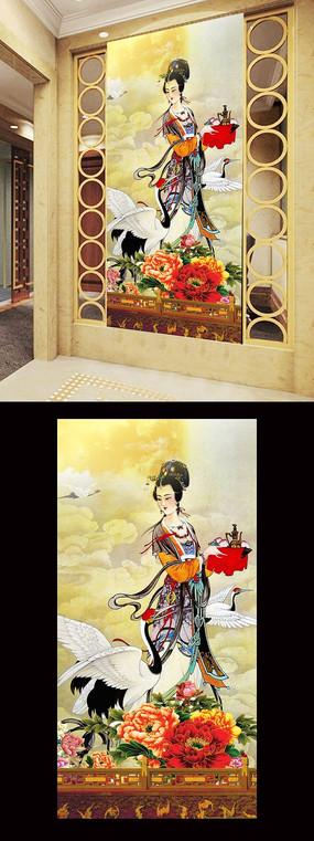 木雕中式古代美女玄关壁画