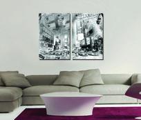 欧美复古风格黑白装饰画设计