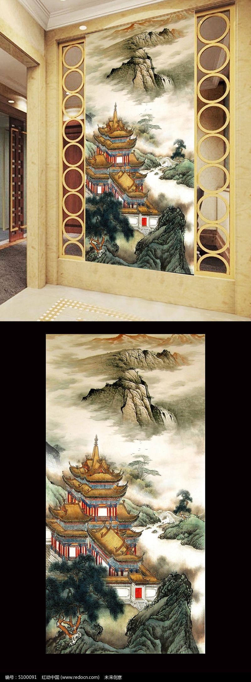 玄关背景墙 竖版 竖幅 竖式 竖图 背景画 室内装饰画 效果图片 中式