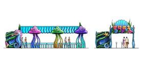 手绘游乐设施入口排队区