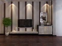 素雅时尚电视背景墙造型3D模型