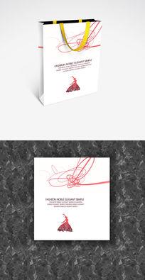 舞蹈红白简洁企业手提袋设计 PSD