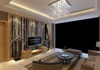 造型个性的现代简约客厅背景墙3D模型