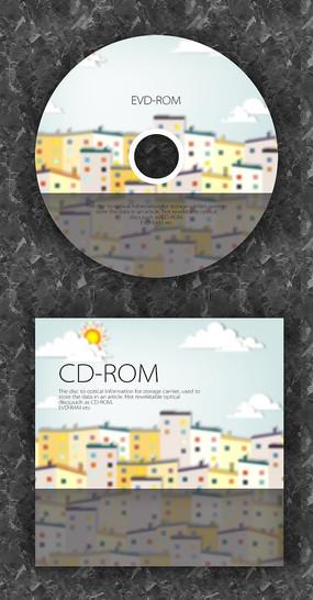 城市暖色可爱音乐CD光盘设计