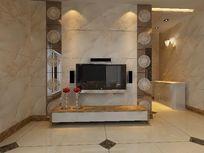 豪华别墅石材造型电视背景墙3D模型素材资料