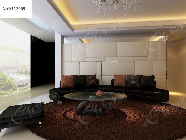 豪华时尚客厅沙发背景墙装修3D模型图片