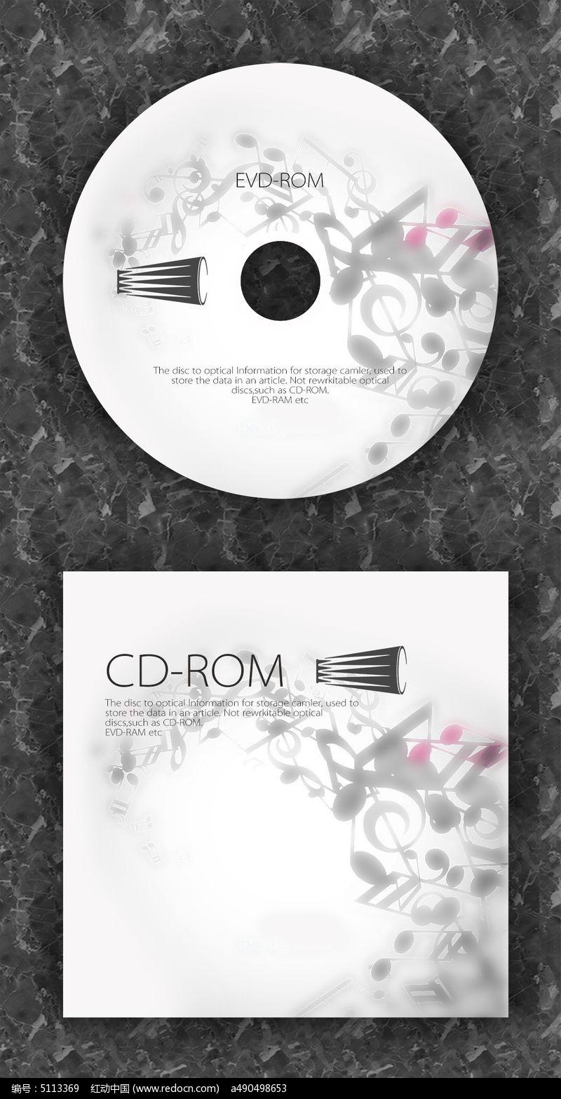 黑白音乐时光复古cd光盘设计图片