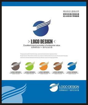 蓝色科技电子简约标志设计