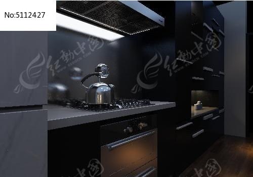 深色时尚单身公寓厨房装修设计3d模型图片