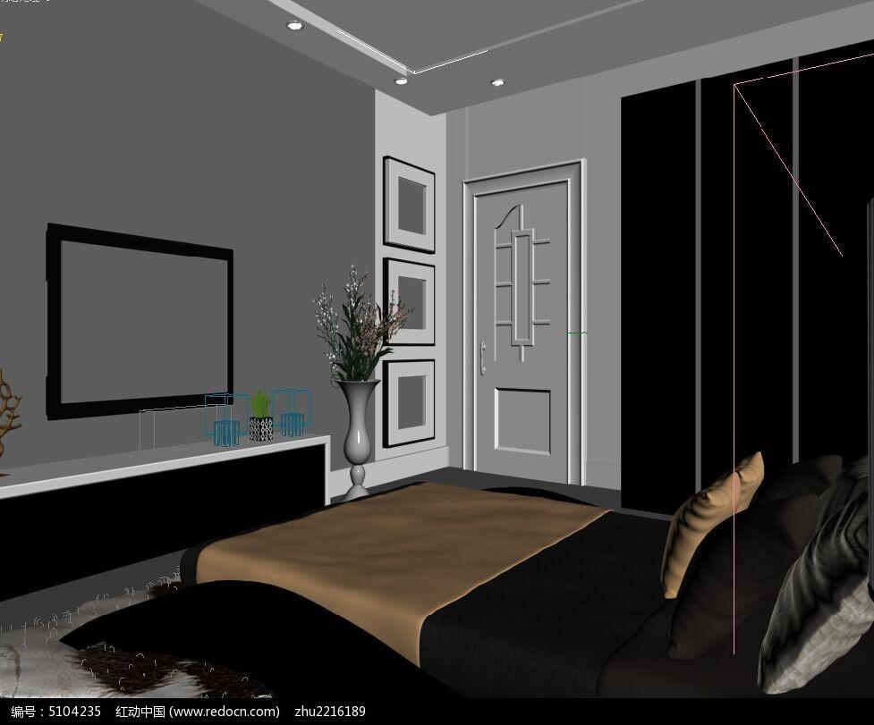时尚欧式卧室造型墙3d模型素材资料图片