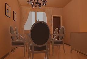 温馨简欧风格餐厅设计效果3D模型