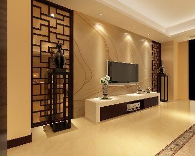 现代中式电视墙造型3d模型素材资料