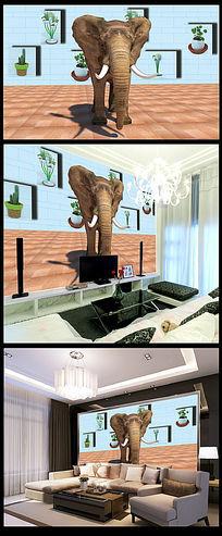 3D立体大象室内装饰电视背景墙psd分层
