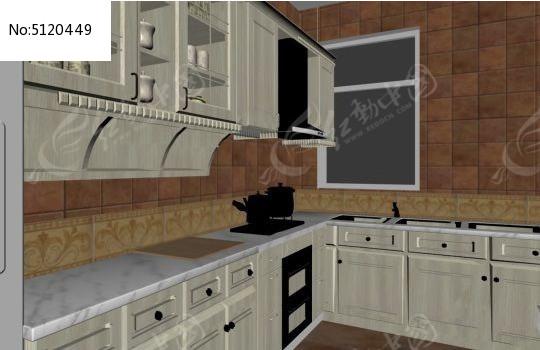 白色欧式乡村风格厨房橱柜设计3d模型