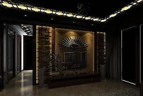 纯中式客厅电视墙花格造型3D模型素材资料