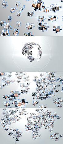 多图汇聚地球logo展示AE模板