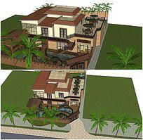 方型别墅庭院小花园SU模型