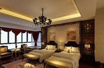 法式古典酒店双人间装修3D设计模型素材