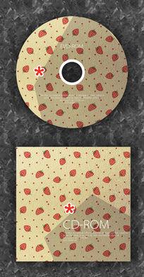 复古草莓可爱音乐光盘设计模板