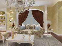 高端大气欧式客厅装修3D设计效果模型素材资料 max