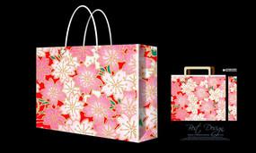 花朵图案底纹手提袋