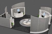 弧形个性造型展览展厅3D效果模型