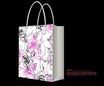 玫瑰花纹手提袋