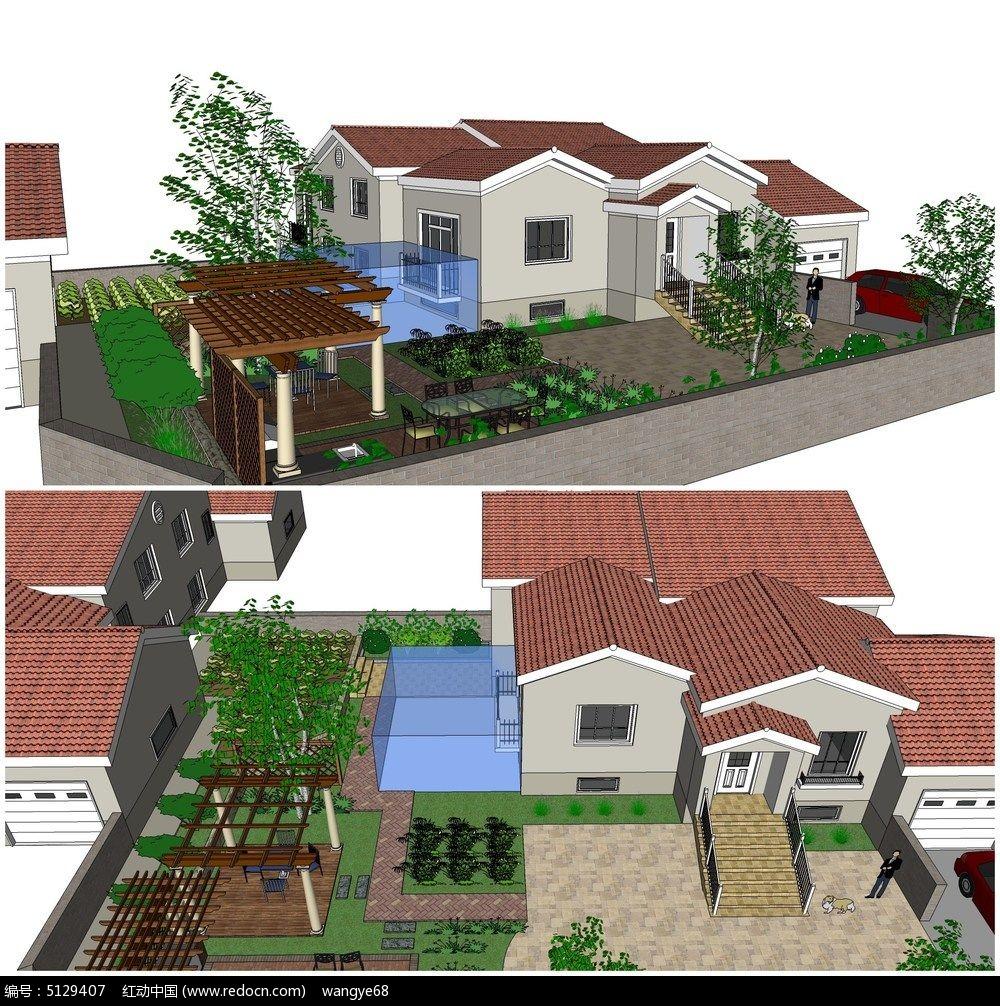 欧式别墅庭院小花园景观su模型