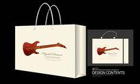 漂亮小吉他矢量图手提袋