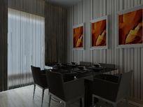 深色系列现代餐厅装修模型